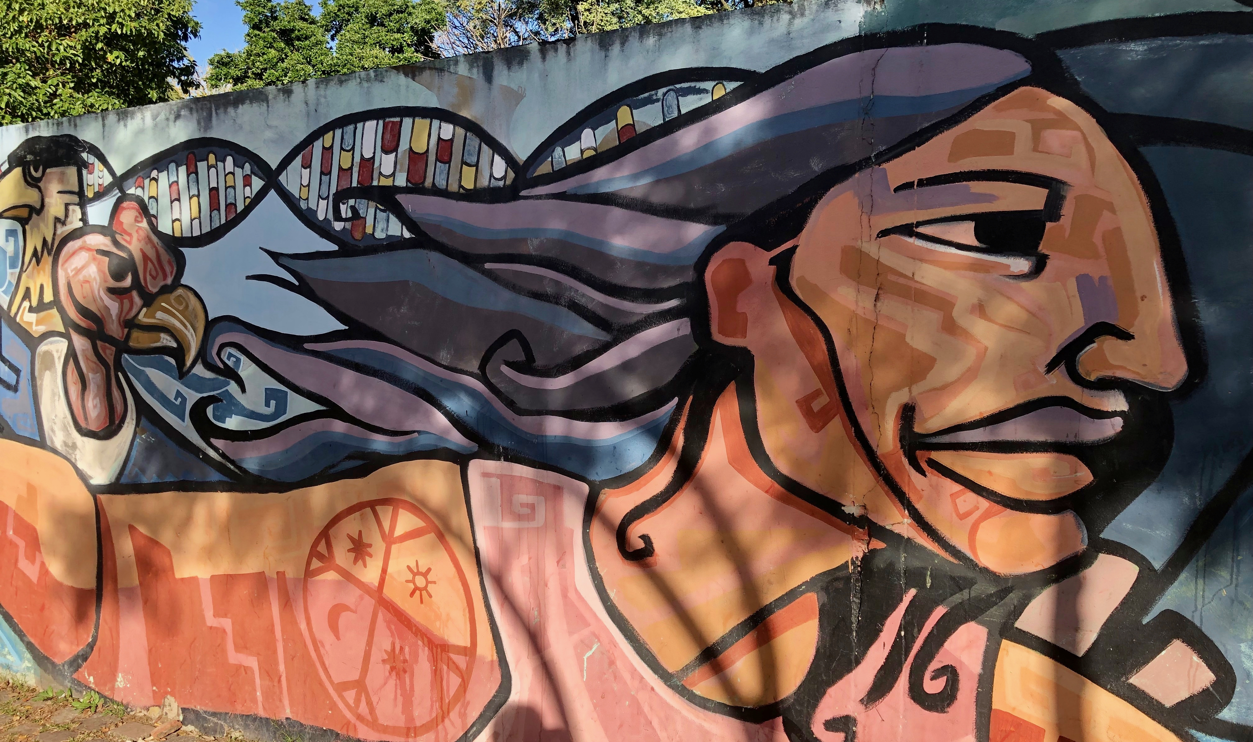 A mural in Buenos Aires with DNA double Helix showing nucleotide pairs, native animals and people